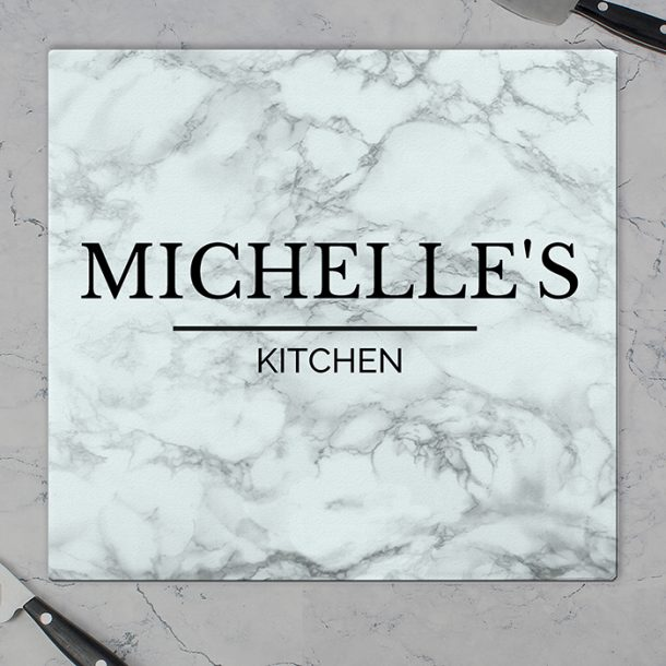 Personalised Marble Effect Glass Chopping Board