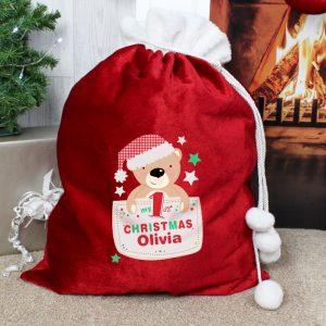 Personalised My 1ST Christmas Pom Pom Sack