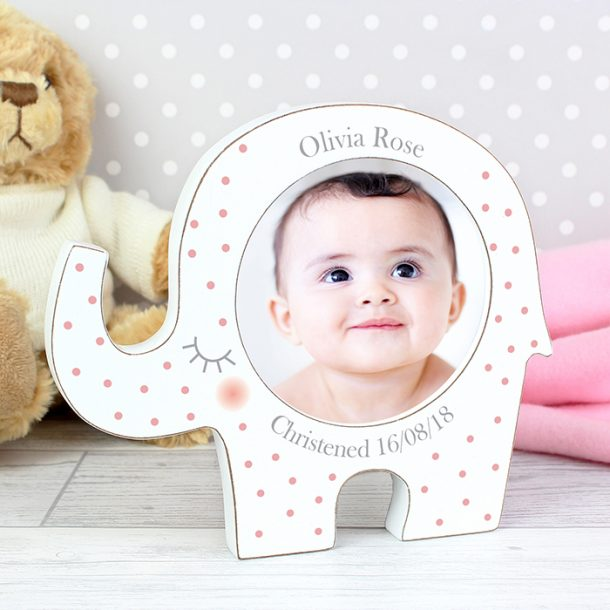 Personalised Pink Spotty Elephant Photo Frame