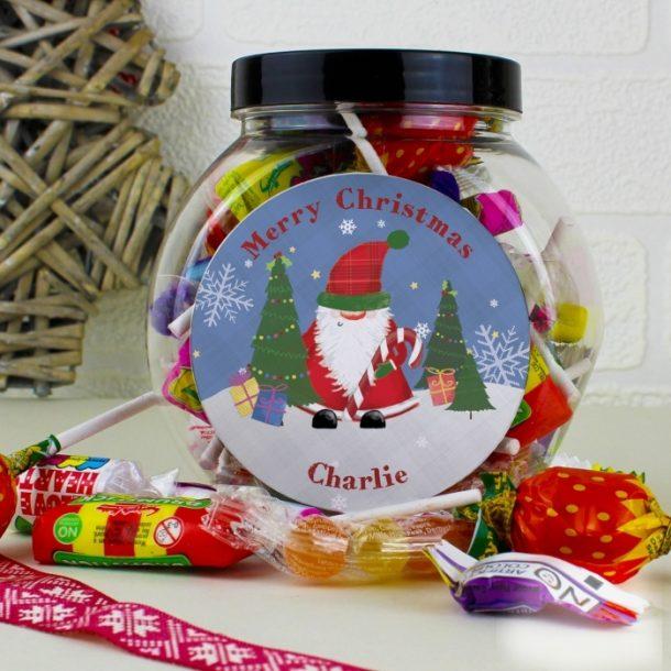 Personalised Tartan Santa Sweet Jar