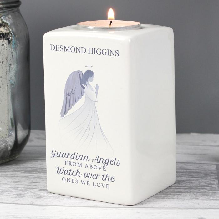 personalised guardian angel ceramic tea light holder