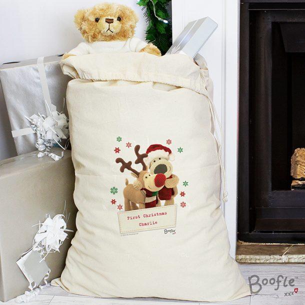 Personalised Boofle Christmas Reindeer Sack