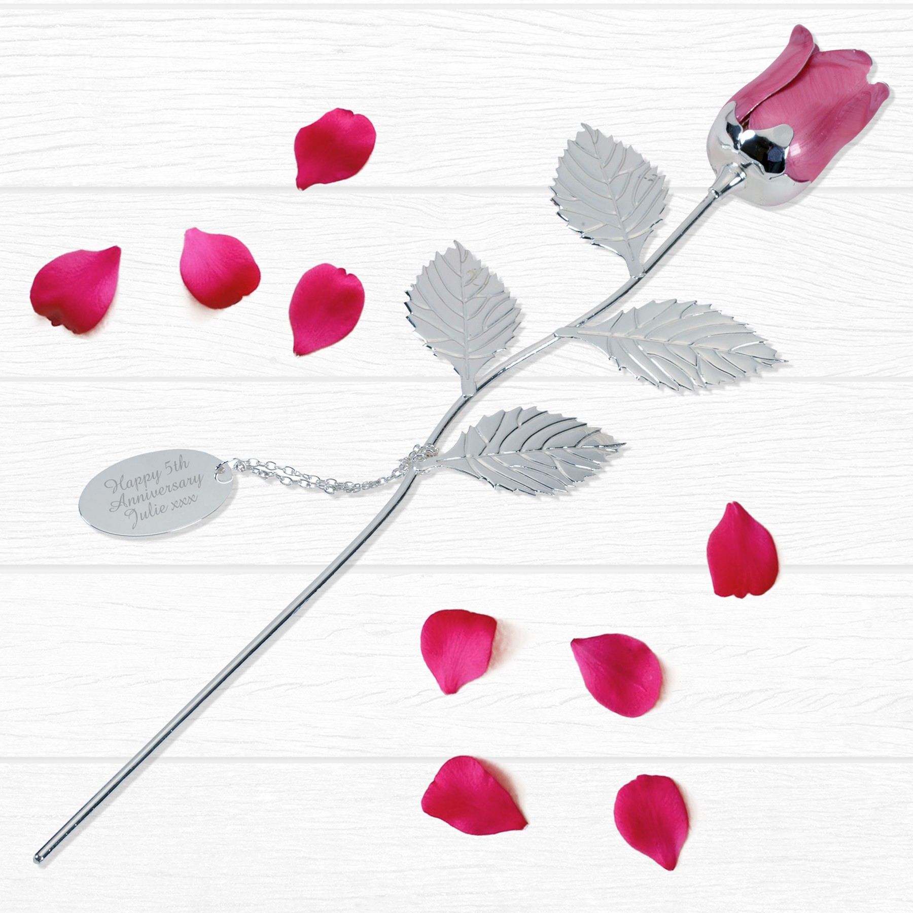 Personalised Silver Plated Pink Rose