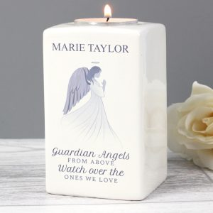 Personalised Guardian Angel Ceramic Tea Light Holder