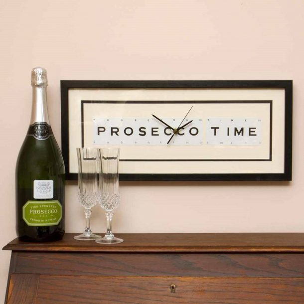 Prosecco Time Framed Clock