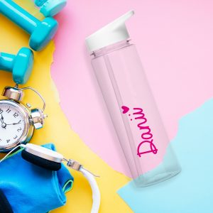 Personalised Pink Heart Transparent Water Bottle