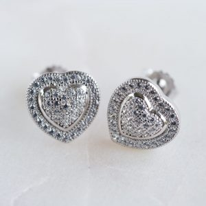 Cubic Zirconia Pave Stone Heart Studs