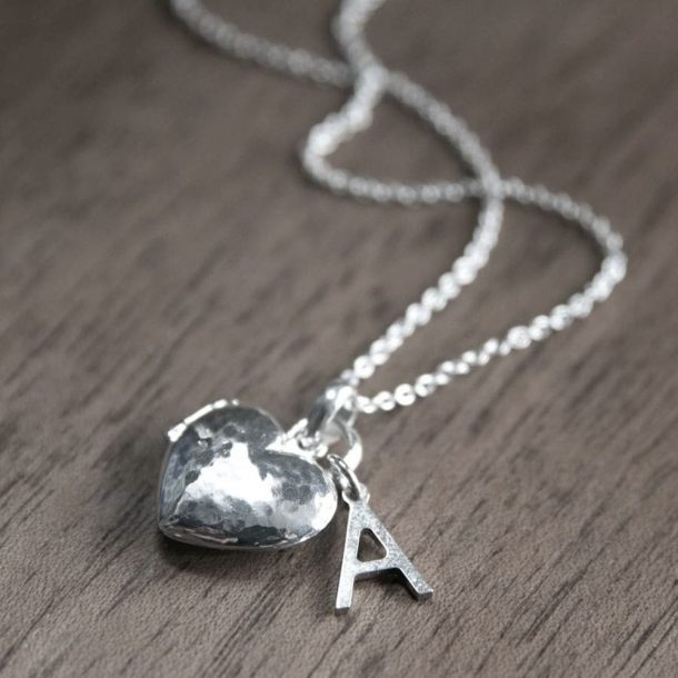 Hammered Heart Locket & Initial Necklace