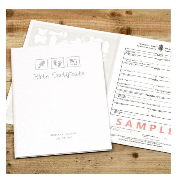 Personalised Birth Certificate Embossed Presentation Holder