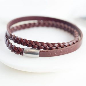 Personalised Brown Leather Wrap Bracelet