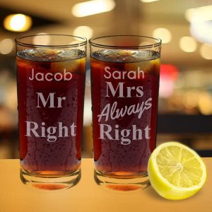 Personalised Mr & Mrs Always Right Glass Set