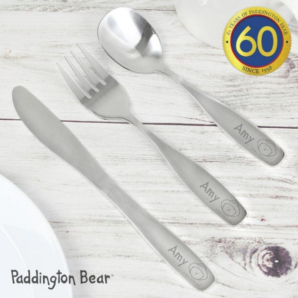 Personalised Paddington Bear 3 Piece Cutlery Set