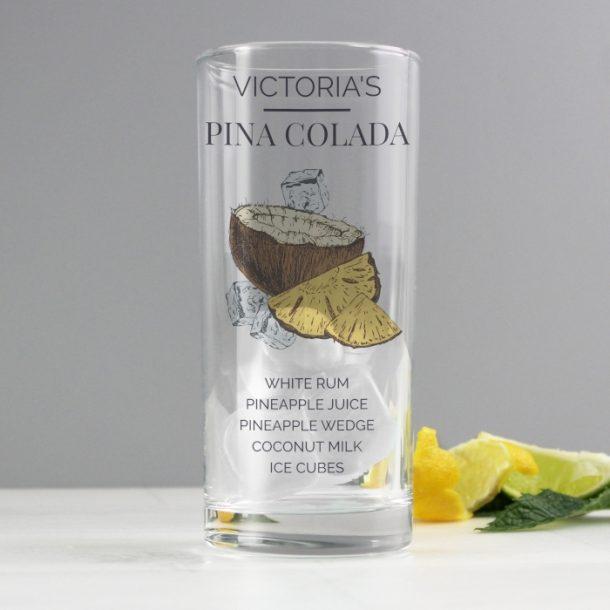 Personalised Pina Colada Hi Ball Cocktail Glass