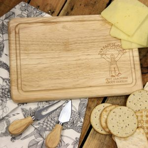 Personalised Wallace & Gromit Crackers About Cheese Wooden Rectangle Cheese Board