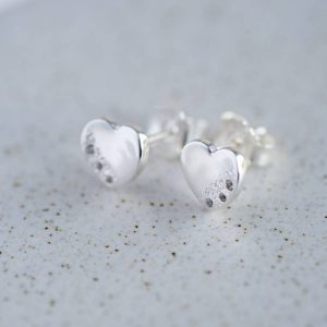 Sterling Silver Moon & Stars Heart Earrings