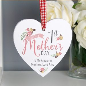 Personalised 1st Mothers Day Heart Decoration