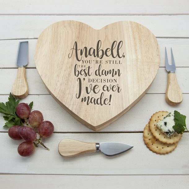Personalised Best Damn Decision Heart Cheese Board Set