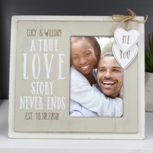 Personalised Love Story 4x6 Wooden Photo Frame