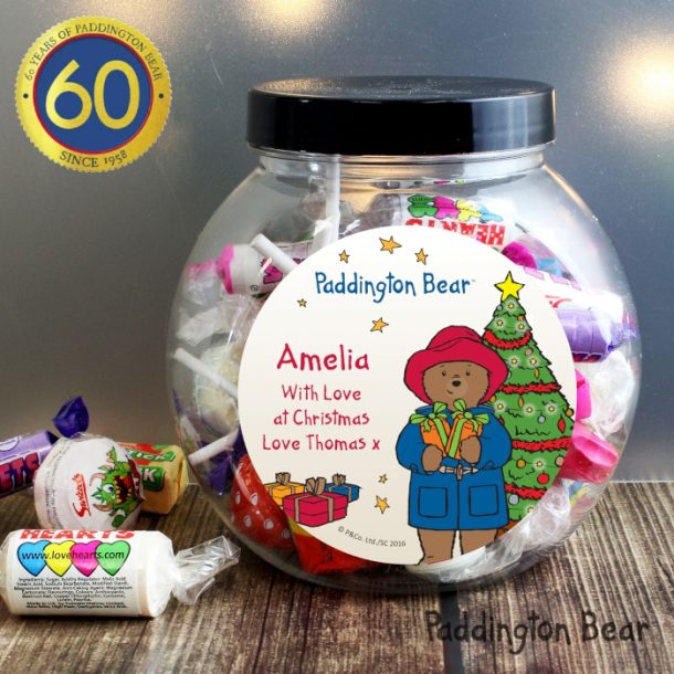Personalised Paddington Bear Christmas Sweets Jar
