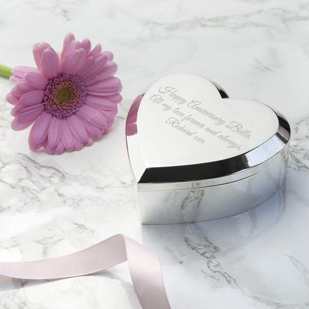 Engraved Silver Heart Trinket Box