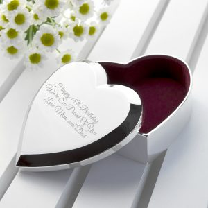Engraved Silver Heart Trinket Box
