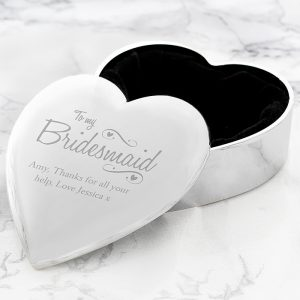 Personalised Bridesmaid Swirls & Hearts Trinket Box