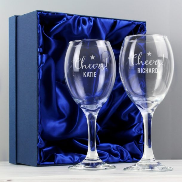 Personalised Cheers Wine Glass Set & Gift Box
