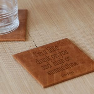 Personalised Favourite Lyric Leather Coaster