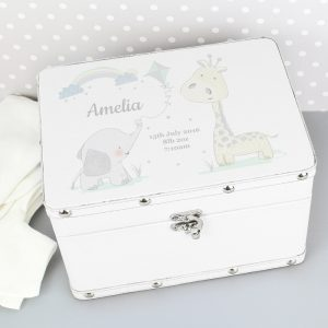 Personalised Hessian Friends White Leatherette Keepsake Box
