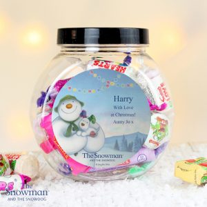 Personalised The Snowman & The Snowdog Sweet Jar