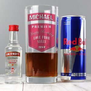 Personalised Vodka Glass And Red Bull Set