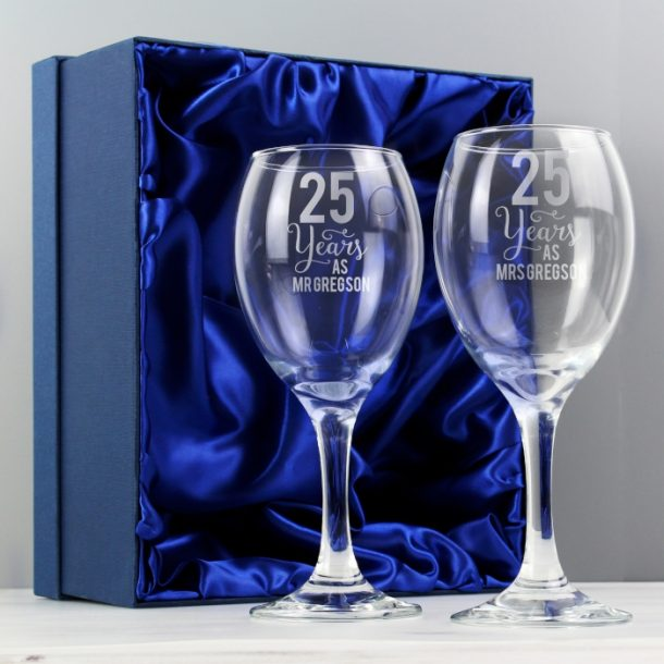 Personalised Years As Wine Glass Set