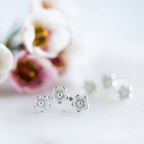 Sterling Silver Flower Stud Earrings