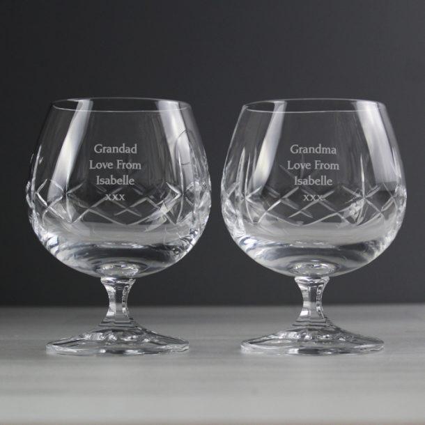 Personalised Pair Of Crystal Brandy Glasses
