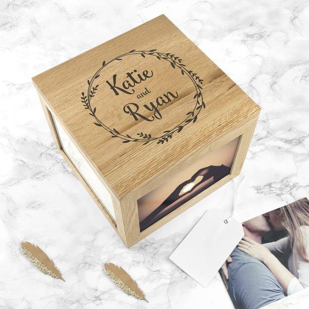 Personalised Couple's Oak Photo Keepsake Box