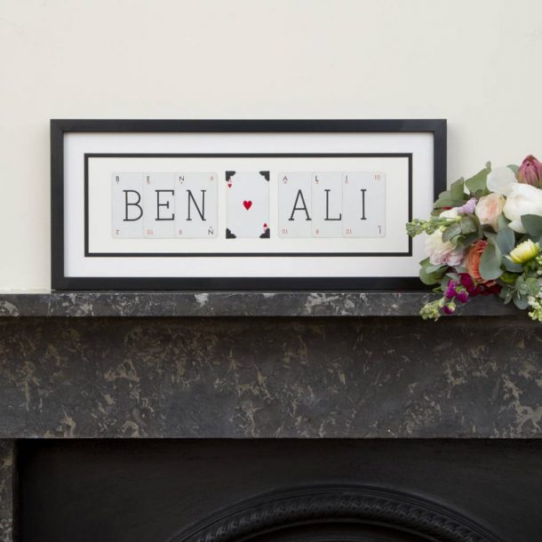 Personalised Couples Vintage Cards Name Frame