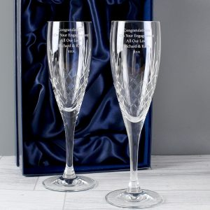 Personalised Crystal Champagne Flutes & Gift Box