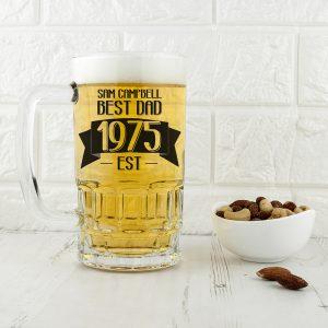 Personalised Dad Established In Beer Glass Tankard