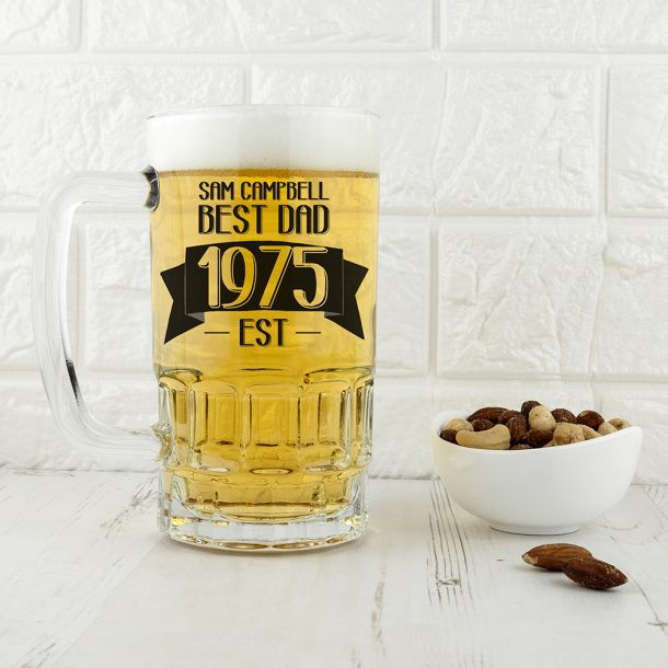 Personalised Dad Established In Beer Glass Tankard