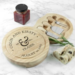 Personalised Mr & Mrs Classic Cheese Board Set