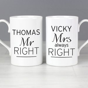 Personalised Mr Right & Mrs Always Right Mug Set