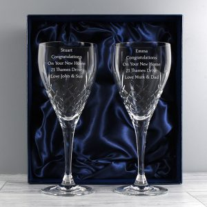 Personalised Pair of Crystal Wine Glasses