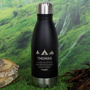 Personalised Wanderer Black Travel Bottle