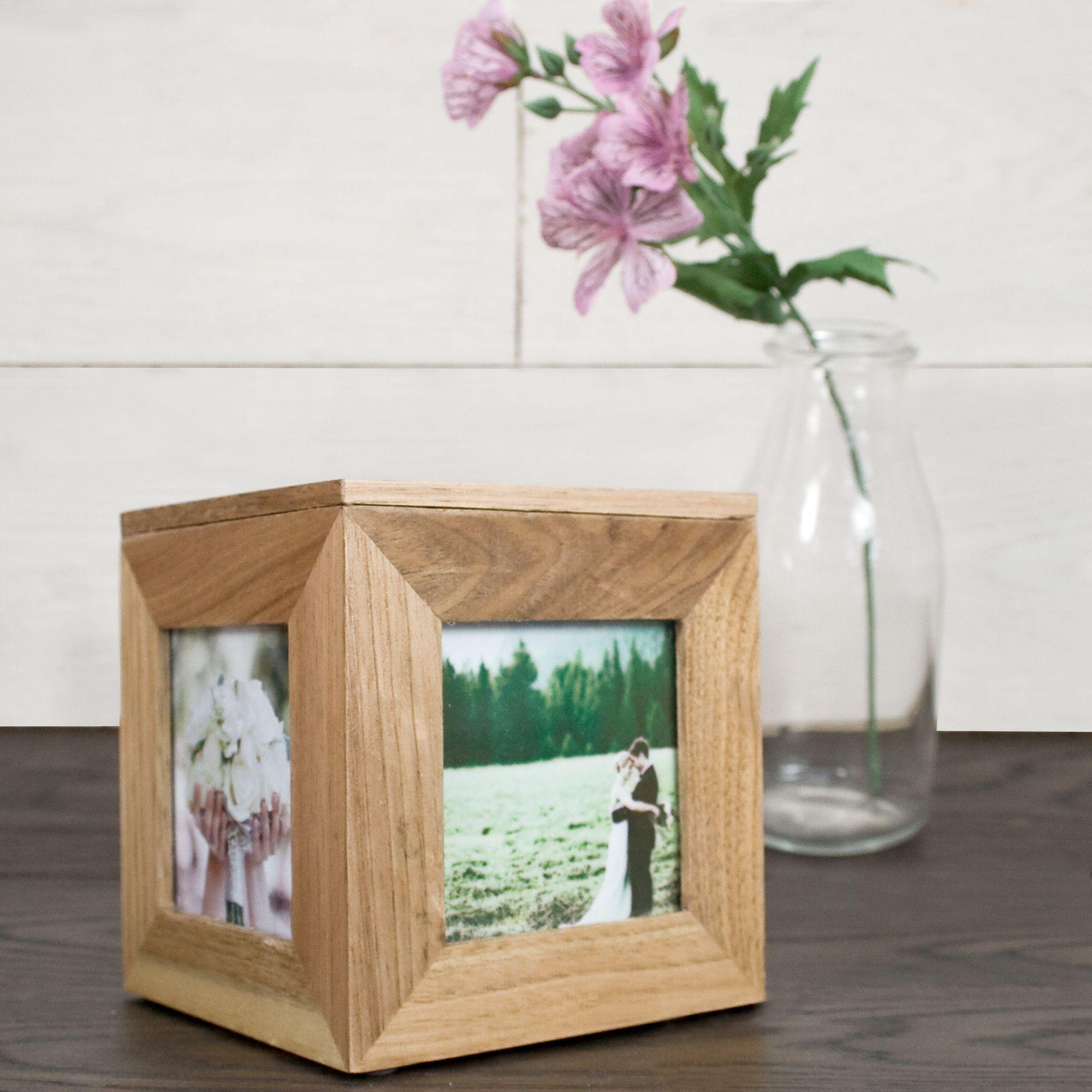 Neptune Giftware Natural Oak Wooden 5 Picture Photo Photo cube keepsake box