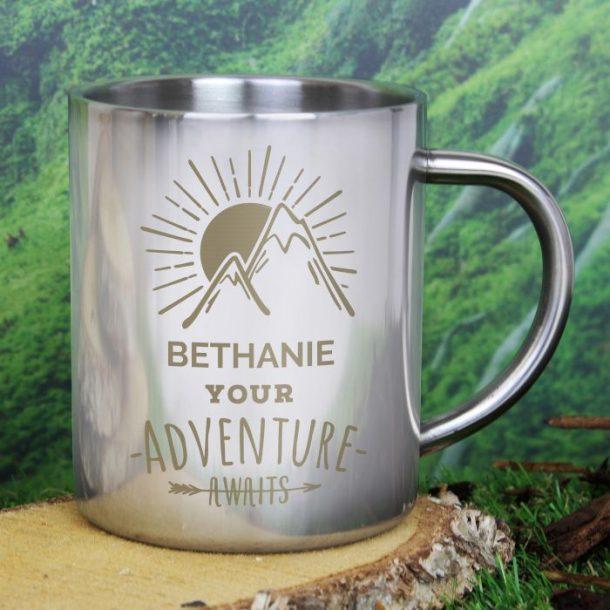 Personalised Adventure Awaits Metal Mug