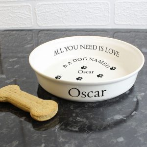 Personalised All You Need Is Love Dog Bowl