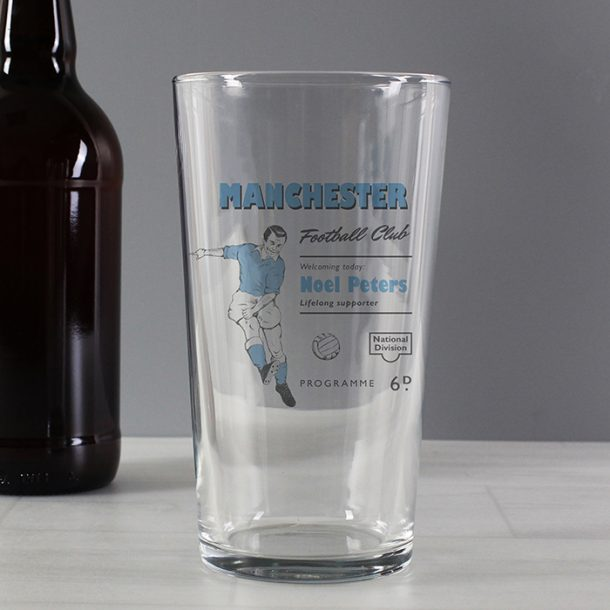 Personalised Any Team Vintage Football Glass