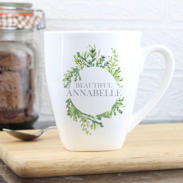 Personalised Botanical Latte Mug