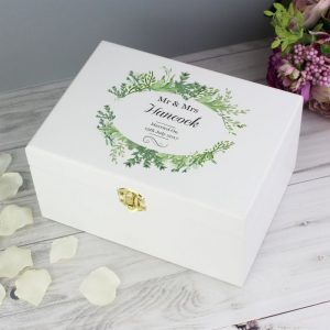 Personalised Botanical Wooden Keepsake Box