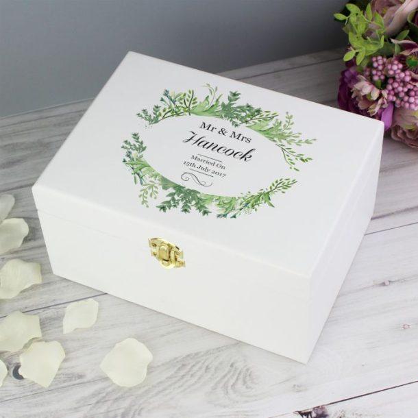 Personalised Botanical Wooden Keepsake Box